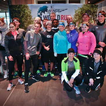 Florian Neuschwander and Lemawork Ketema ( middle) with participants at the Wings for Life World Run event in Munich 23rd of January 2016
